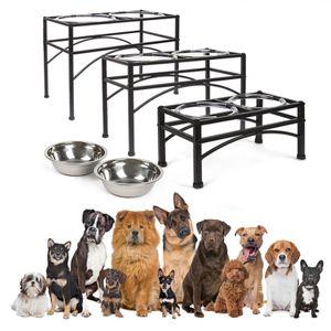 Hundenapf Doppel Futternapf (L 50*26*35 cm) Hund Katze Fressnapf Futterstation Napf mit Ständer für Hund Katze Haustier Napfständer