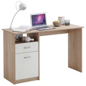FMD Schreibtisch mit 1 Schublade 123¡Á50¡Á76,5 cm Eichenbraun und Weiß