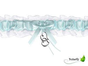 Strumpfband zur Hochzeit, Auswahl:PDW4-011 zwei Herzen Aqua Blau