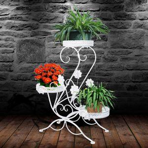 LULUFADE Metall Blumenregal Blumentreppe Blumenständer Pflanzentreppe Blumenbank für Innen/Garten Weiß