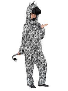Unisex Kostüm Zebra Overall mit Kapuze Karneval Fasching Gr.L