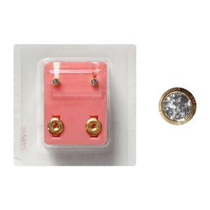 1 Paar Erstohrstecker 316L Chirurgenstahl vergoldet Sterile Ohrstecker Zarge mit Stein in transparent 3mm rund Ohrringe Ohrhänger Ohrschmuck