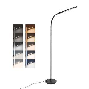 Tomons LED Stehleuchte, Dimmbar Stehleuchte Helligkeit und Farbtemperatur stufenlos einstellbar mit Timer und Memory-Funktion, Flexibler Schwanenhals, für Wohnzimmer, Schlafzimmer, Büro