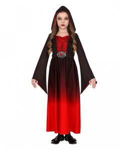 Rotes Gothic Girl Kinder Kostüm als Verkleidung für Halloween und Karneval Größe: 8-10 Jahre