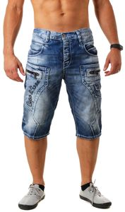 Cipo & Baxx Herren Jeans Shorts Bermuda kurze Hose mit trendigen Kontrastnähten Vintage Look Waschung CK101, Grösse:W40, Farbe:Blau