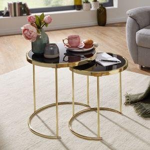 WOHNLING Design Satztisch CORA Schwarz/Gold Beistelltisch Metall/Glas   Couchtisch Set aus 2 Tischen   Kleiner Wohnzimmertisch   Metalltisch mit Glasplatte   Ablagetisch modern