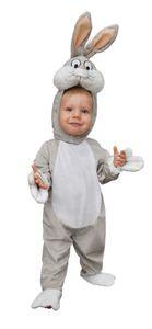 O11713-1-2 grau-weiß Baby Kleinkinder Kinder Bugs Bunny Hasen Kostüm Gr.1-2 Jahre