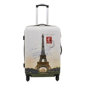 Koffer Reise Trolley Paris Eifelturm L Mittel 67 cm Hartschale 4 Rollen Bowatex