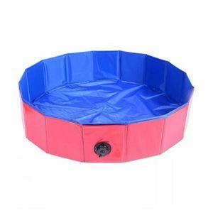 Hundepool Schwimmbad Faltbare Pet Bad Pool Hunde und Katzen Swimmingpool mit PVC-rutschfest Verschleißfest rot runden 60 × 20 cm Haustier Schwimmbad