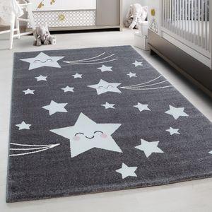 Kinderteppich Kinderzimmer Babyzimmer Niedlich Sterne muster Grau Weiß, Farbe:GRAU,80 cm x 150 cm