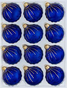 12 tlg. Glas-Weihnachtskugeln Set in 'Ice Royal Blau Gold' Regen