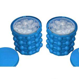 2x 3in1 Eiswürfelbereiter mit Silikon Deckel Eiswürfelform Eiswürfelbehälter Eiseimer Eiswürfeleimer Eiswürfel Form Behälter Bereiter Eiskübel