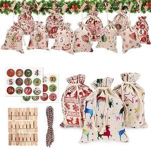 24 Adventskalender Säckchen,24 Adventskalender Zum Befüllen,DIY Weihnachten Geschenksäckche,Weihnachtskalender Bastelset,Stoffbeutel Adventskalender Zum Befüllen