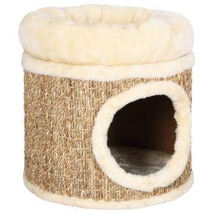 Eleganter- Katzenhöhle Katzenbett Weichem Flauschigem,Katzenzelt Katzenkorb zum Schlafen mit m Kissen 33 cm Seegras 🍓8841