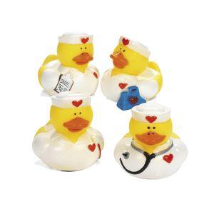 Gummi-Enten Badeenten Quietscheenten Badespaß Spritzenten Krankenschwestern mit Herz 4 Stück