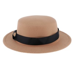 Herren Damen Filzhut Breite Krempe Fedora Panama Hut mit Band, Wollhut Wollfilzhut Winterhut Farbe Khaki
