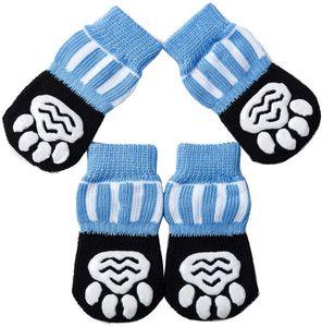 Antirutschsocken Hunde Katzensocken 4 Stück, Größe XL, Pfotenschutz Haftsocken für Drinnen, Haustier Hunde Katzensocken mit Gummiverstärkung