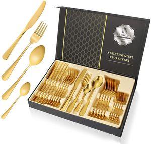 Bestecksets aus Edelstahl 24-teilig für Haus Küche Restaurant Besteck Set mit Geschenkbox für 6 Personen, Messer Kuchengabel Löffel Teelöffel Inklusive, Golden