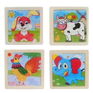 4 x 9 Teile Kinder Puzzle(Ente + Wal + kleiner Fisch + kleine Schnecke)10.5x10.5cm Holzpuzzle