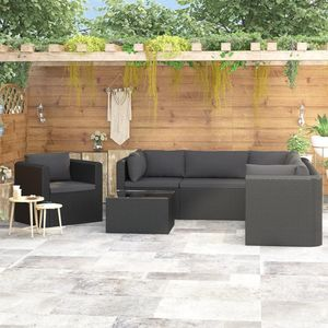 Hochwertigen Garten Sitzgruppe Gartengarnitur - 7-teiliges Garten-Lounge-Set - Gartengarnitur Set mit Auflagen Poly Rattan Schwarz☆7374
