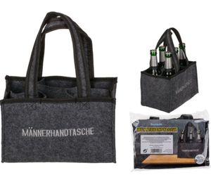 Filztasche Flaschentasche Sixpack Flaschenträger Männerhandtasche Filz mit Tragegriff 1 Stück