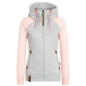 Womens Fleece Zip Up Hoodies Hooded Ladies Swetshirt Jumper Jacket Hoody Coats, Farbe:Pink, Größe:L