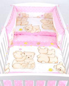 BABYLUX Kinderbettwäsche 2 Tlg. 90 x 120 cm Bettwäsche 64. Teddybären Rosa