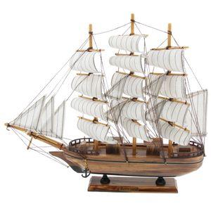 Holz Schiffsmodell Spielzeug Sammlung Hobby Pädagogisches Segelboot Antikes Geschenk 35cm