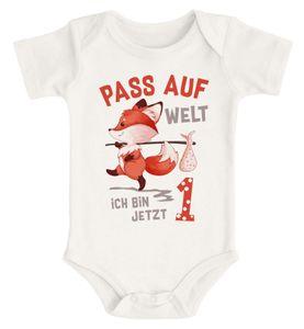 Babybody erster Geburtstag Pass auf Welt ich bin jetzt 1 Fuchs kurzarm Body Baumwolle Moonworks® 1 natur 12-18 Monate