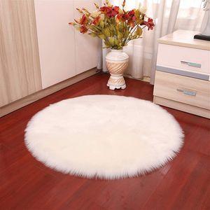 Weiß 110cm Durchmesser Faux Lammfell Schaffell Teppich Flauschig Weiche Nachahmung Wolle Runden Teppich Langflor Matte für Wohnzimmer Schlafzimmer Kinderzimmer Auto