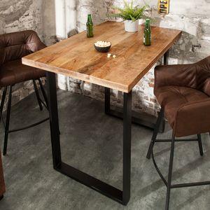 Massiver Bartisch IRON CRAFT natur 120cm Mangoholz Industrial Design Tresen Hausbar Tisch