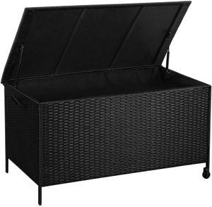SONGMICS Gartenbox 400 L | 121 x 56 x 60,5 cm | aus Polyrattan Auflagenbox mit Auto-Return-Zylinder Sitztruhe wasserfest schwarz GGC02GY