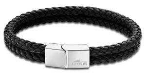 Herren Kordelarmband schwarz silber LS2011-2/1 Lotus Style Lederarmband