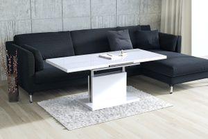Design Couchtisch Tisch Aston Weiß Hochglanz stufenlos höhenverstellbar ausziehbar 120 bis 200cm Esstisch