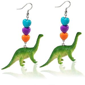 Dinosaurier Diplodocus Ohrringe Miniblings Ohrhänger Dino Langhals grün Herzen