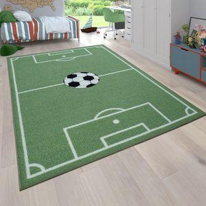 Kinder-Teppich, Spiel-Teppich Für Kinderzimmer Mit Fußball-Motiv, In Grün, Grösse:80x150 cm