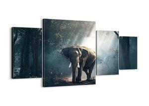 "Leinwandbild - 160x90 cm - ""Ein gemütlicher Spaziergang""- Wandbilder - Elefant Wald Dschungel - Arttor - DL160x90-3972"