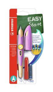 Ergonomischer Schulfüller für Linkshänder - STABILO EASYbirdy - inklusive Patrone Pastel Soft Pink/Apricot Feder M