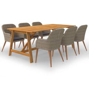 Gartenmöbel Essgruppe 6 Personen ,7-TLG. Terrassenmöbel Balkonset Sitzgruppe: Tisch mit 6 Stühle, Braun❀4213