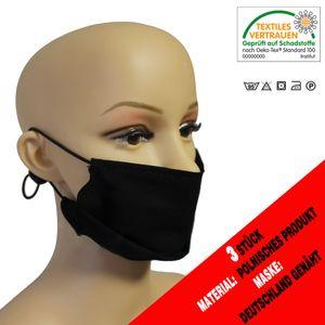 Schutzmaske/Atemschutzmaske, mit Ohrschlaufen, aus Baumwolle, Unisex 3 Stück