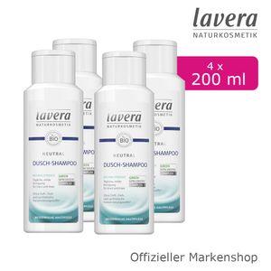 4x200ml lavera Neutral Dusch-Shampoo Duschgel Bio-Nachtkerze empfindliche Haut