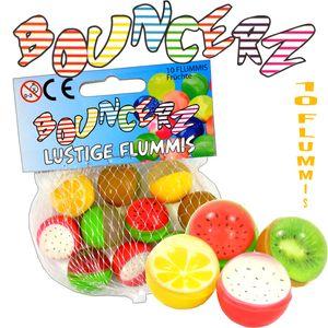 Flummis Früchte Obst Bunt 3D Optik 10er Netz ca.25mm Mitgebsel Kinder