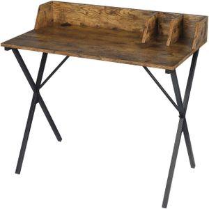 WOLTU Z-DES103wdrts Schreibtisch Computertisch Bürotisch PC Tisch Arbeitstisch für Home, Büro, Metall MDF 90x50x73cm Holzoptik Vintage