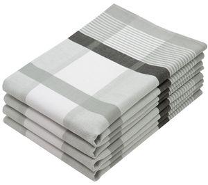 4er Set Geschirrtücher Baumwolle, 50x70 cm, grau-kariert