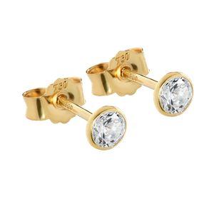 Paar 4mm Ohrstecker Gelbgold 750 Gold Ohrringe 18 Karat Zirkonia weiß kelch 2613