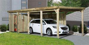 Carport Weka Einzelcarport 617 Gr. 3 Holz kdi + Trapezblech 322x802cm