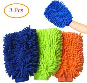 3 Stück Mikrofaser Auto Waschhandschuh,Autowaschhandschuh,Chenille Waschhandschuh Mikrofaser Reinigungstuch für Küchen- und Autoreinigung