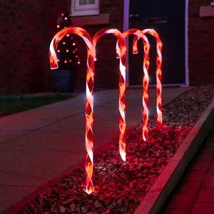 10 LED Zuckerstangen Garten Weihnachts Beleuchtung Deko USB Timer Outdoor Gartendekoleuchten