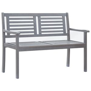 vidaXL 2-Sitzer-Gartenbank 120 cm Grau Eukalyptus Massivholz