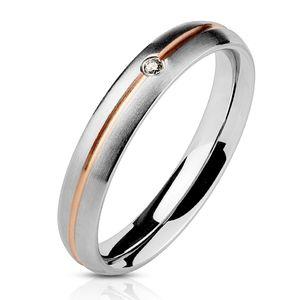 viva-adorno Gr. 60 (19,1 mm Ø) Damen Ring Verlobungsring Edelstahl Silber / Rosegold mit Zirkonia RS57,